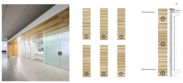 Montmagny Courthouse | Detail | Printed wooden glass panels | CCM2 | Group A | Roy-Jacques Architects | Laurier Glass