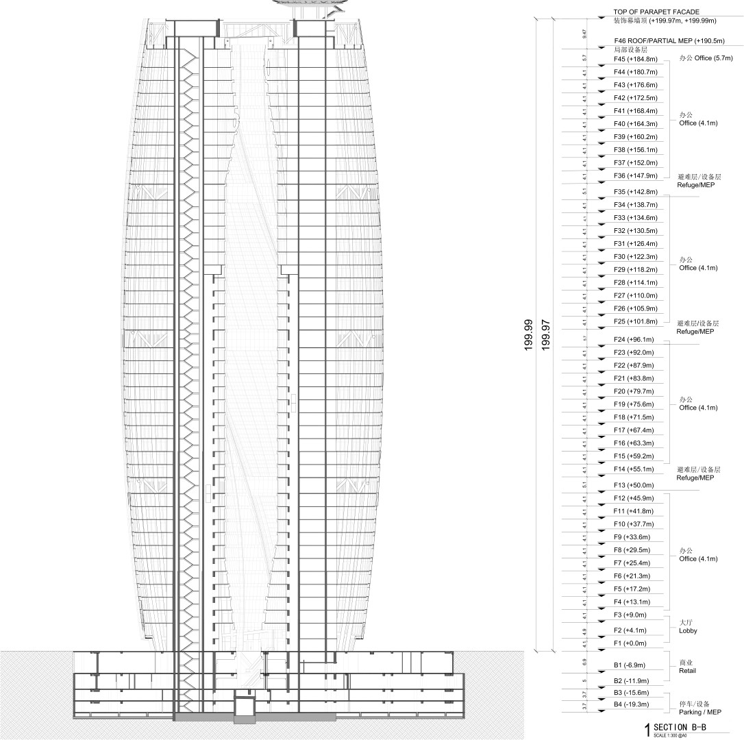 Section through Atrium   Leeze SOHO   Zaha Hadid Architects   Glass and Facade Magazine
