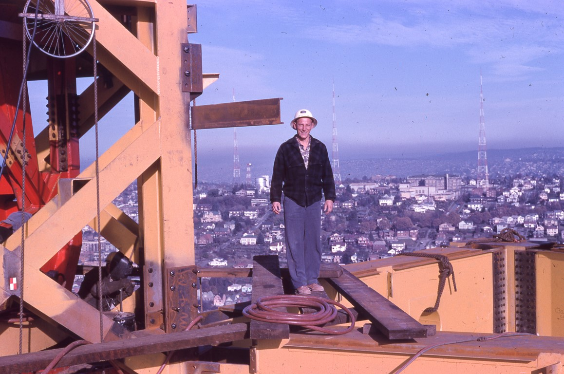 1962 Space Needle construction worker. Photo credit Seattle Public Library