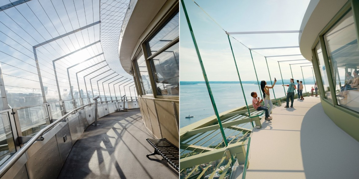 Before and After Upper Atmos (Outer Deck) Photo credit Space Needle LLC and Olson Kund