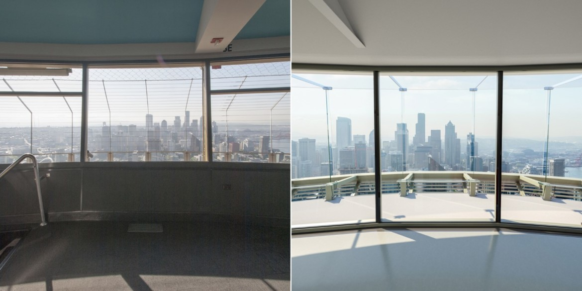 Before and After view from inside of the Upper Atmos. Photo credit Space Needle LLC and Olson Kundig