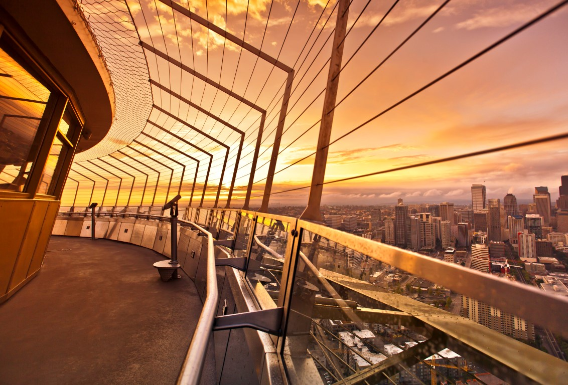 Before the makeover, a wall and caging interrupted views from the 520 foot level Space Needle Obser