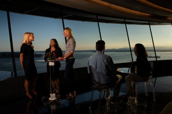 Enjoying the sunset at the Atmos Wine Bar. Courtesy of Space Needle and Rod Mar