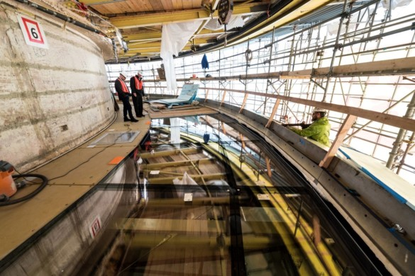 Section of the rotating glass floor under construction. Photo by Rod Mar
