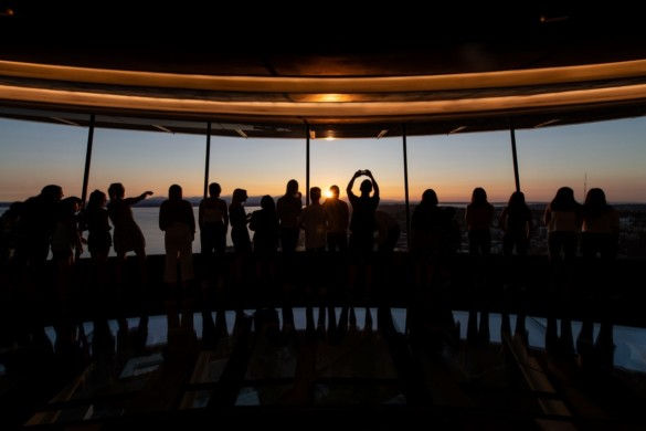 Sunset at The Loupe. Courtesy of Space Needle and Rod Mar