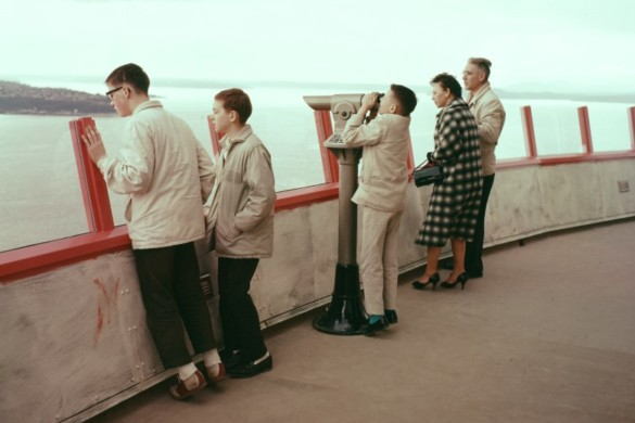 Visitors on the Space Needle Observation Deck in 1962. Photo credit Seattle Public Library (1)