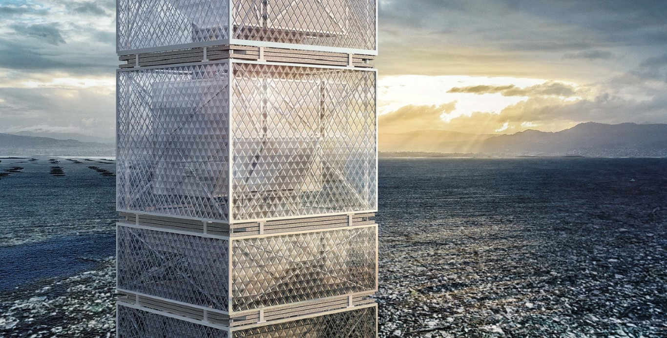 Honglin Li Designs Waste-to-Energy Skyscraper in Great Pacific Garbage Patch_3