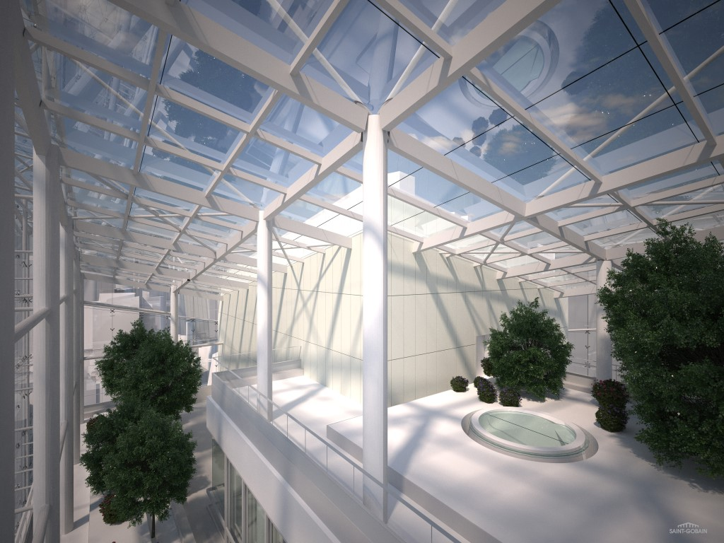 GlassPro rendering of the interior of the head of the new Saint-Gobain Tower