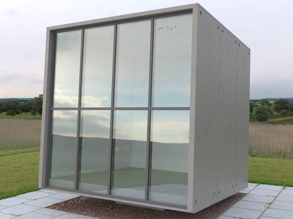 GlasKubus scene of the GlassPro app, under overcast sky