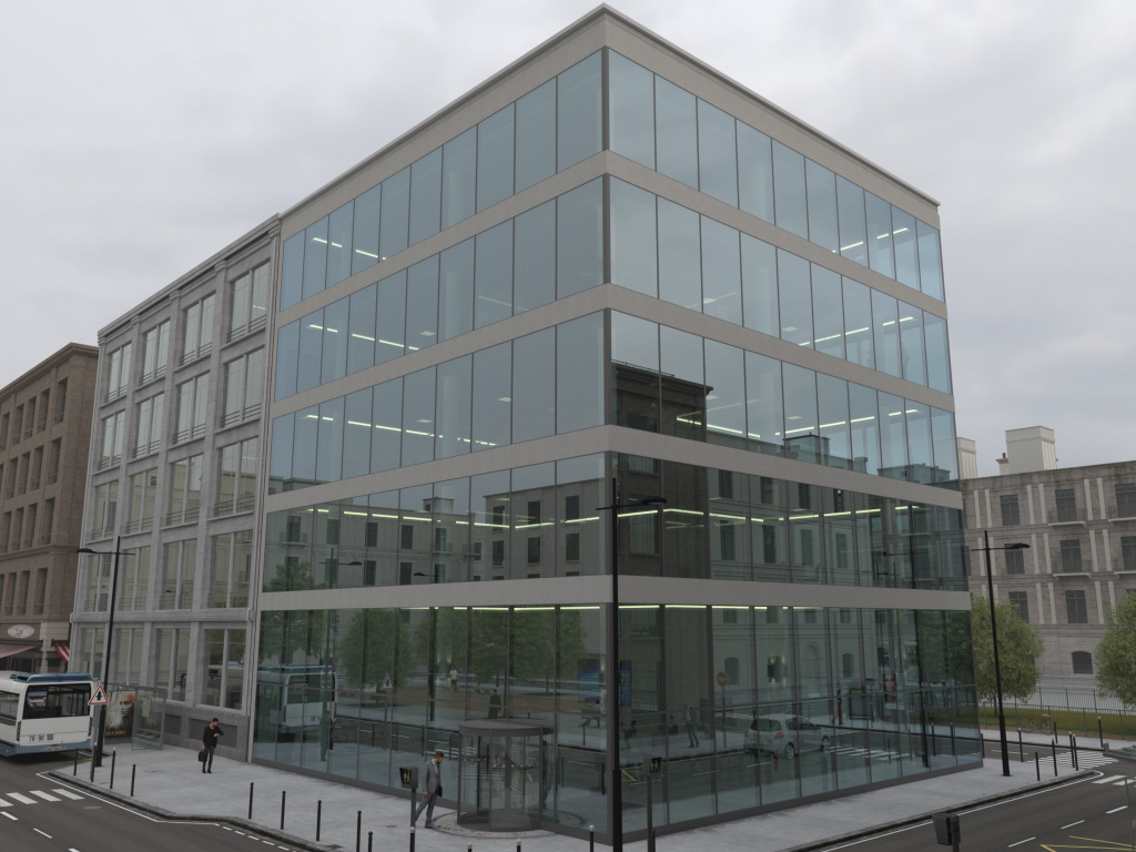 Urban Scene (standard building) of the GlassPro app, under overcast sky