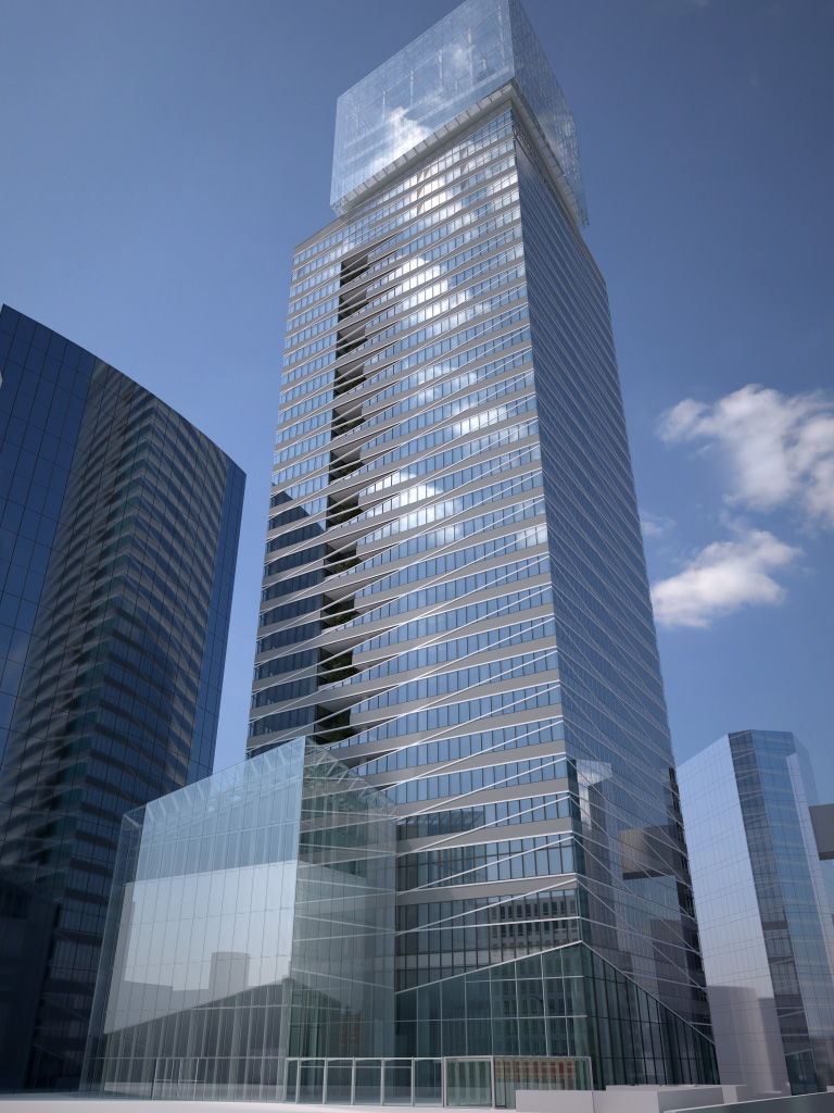 GlassPro rendering of the new Saint-Gobain Tower, done before the construction [for comparison with the picture of the tower under construction]