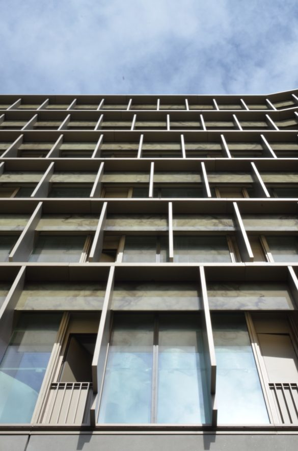 The Zig Zag Building   London   Rory Allen Photo   Detail of facade   stainless steel panels