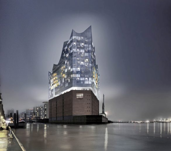 elbphilharmonie | Night Time Photo | Hamburg | ipachrome design | AGC Interpane | View from the River | IGS Mag | designed by Herzog & de Meuron