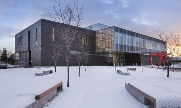 Montmagny Courthouse   Exterior   Printed wooden glass panels   CCM2   Group A   Roy-Jacques Architects   Laurier Glass