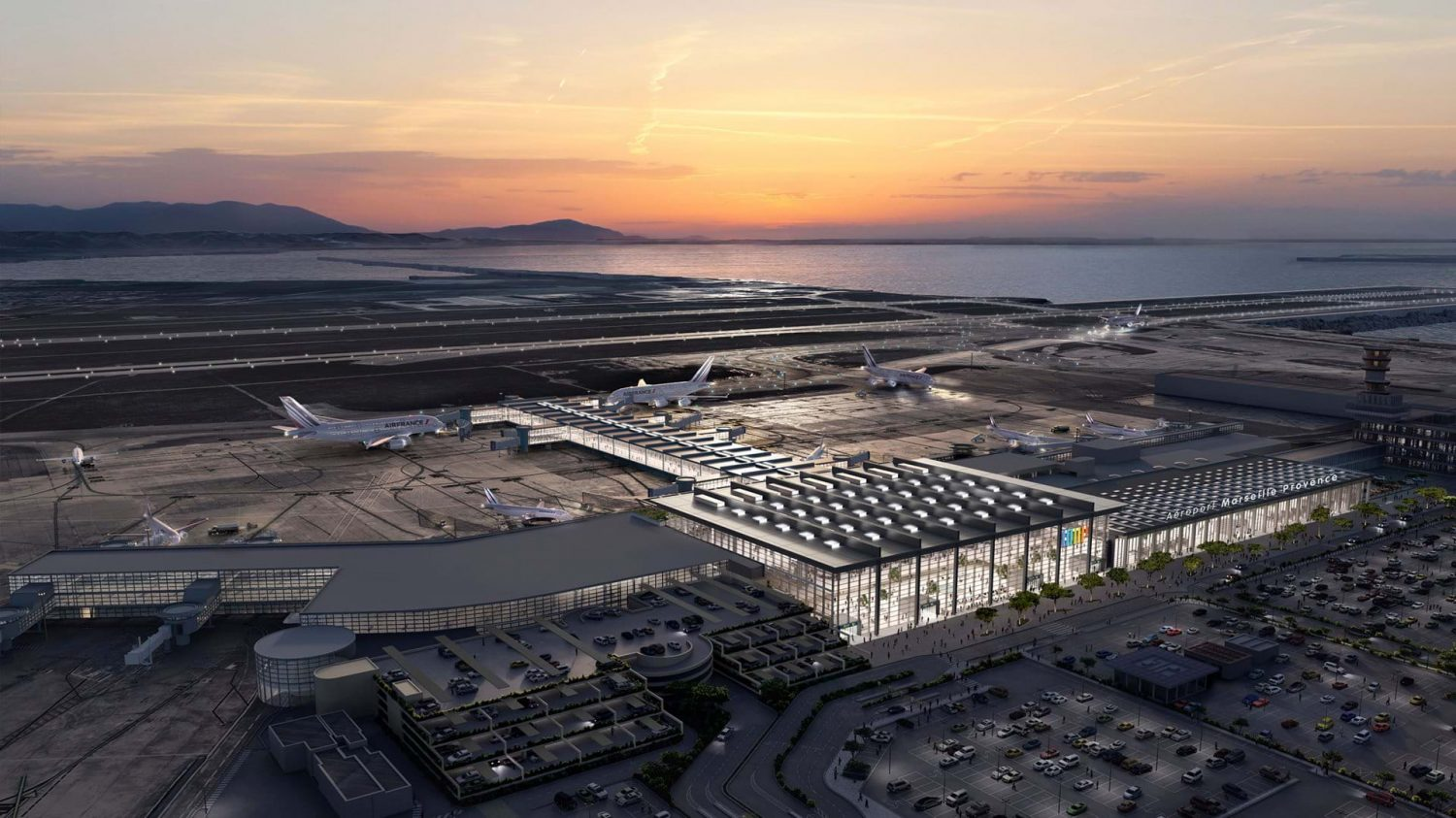 Foster + Partners | Airport | Marseille | Rendering | sky view