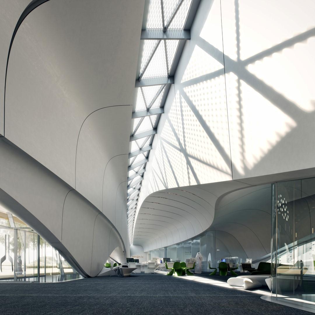 Bee'ah HQ_interior | Zaha Hadid | IGS Mag | Glass Facades | Interior design