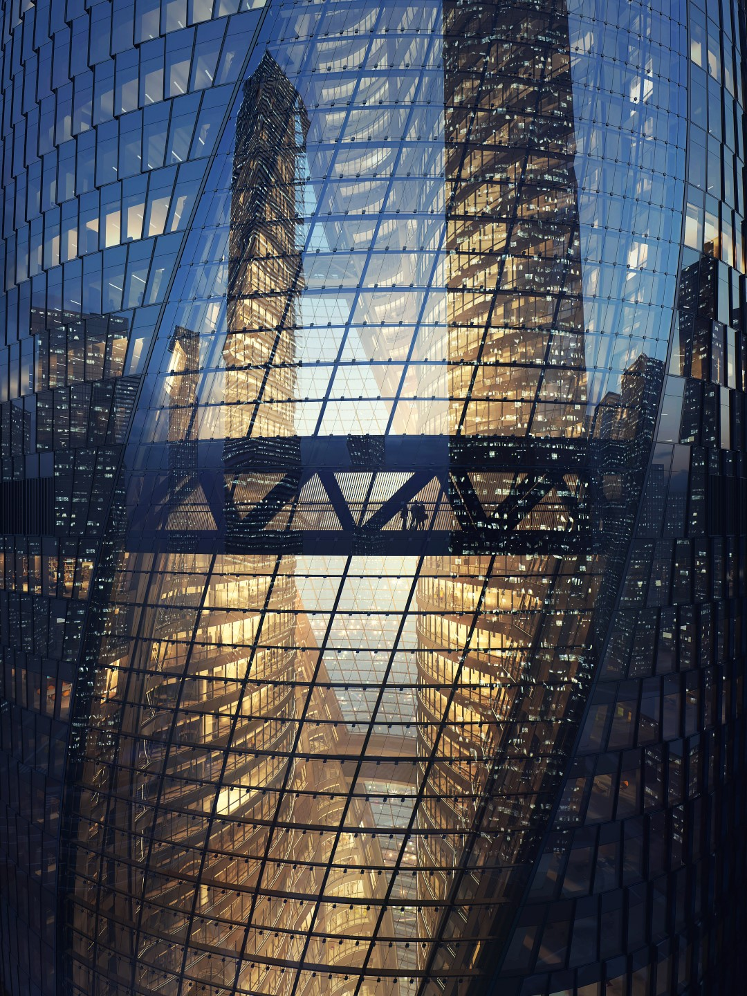 Leeza Soho | Dusk | Render | Zaha Hadid Architects