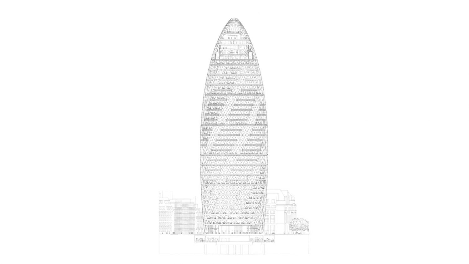 The Gherkin drawing | IGS Magazine | Foster + Partners