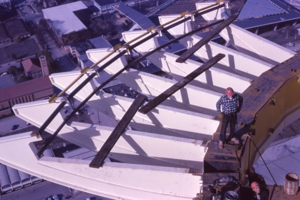 1962 Space Needle construction work on canoe beams. Photo credit Seattle Public Library