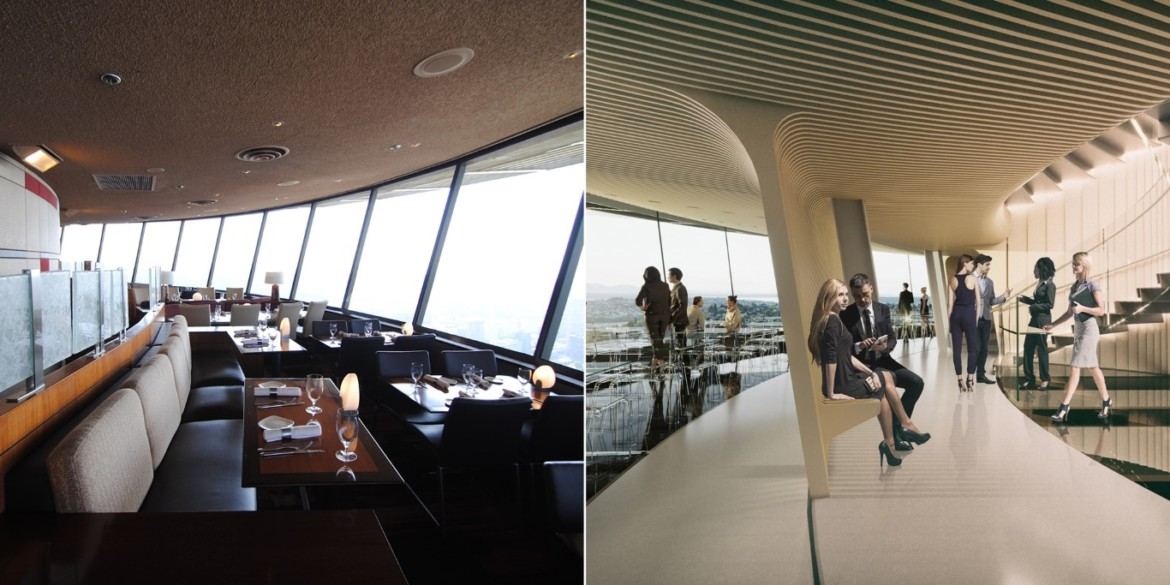 Before and After Lower Atmos. Photo Credit Space Needle LLC and Olson Kundig