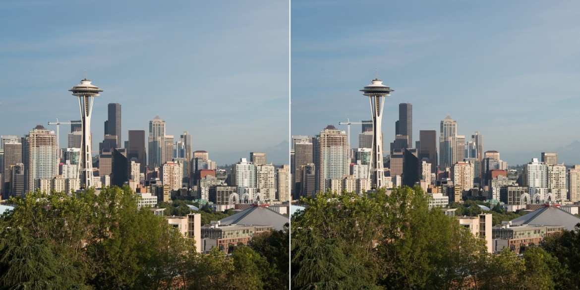 Before and After Seattle skyline. Photo credit Space Needle LLC