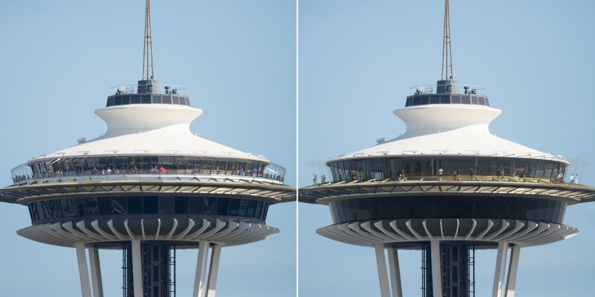Before and After Space Needle Atmos. Photo credit Space Needle LLC and Olson Kundig