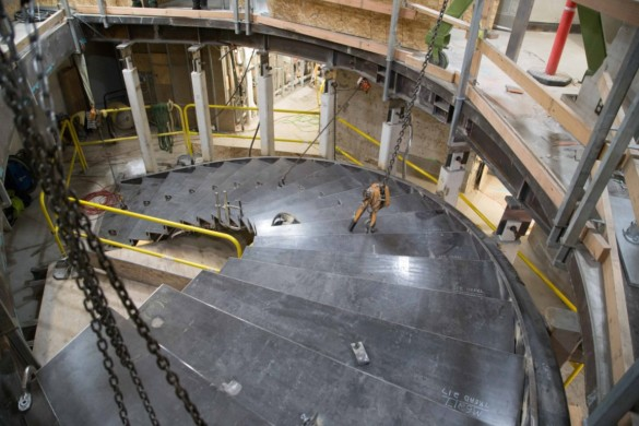 Grand staircase installation. Photo credit Space Needle LLC