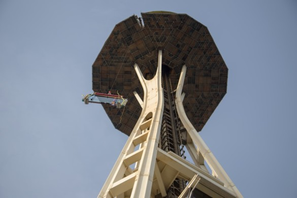 Hoisting of 11x7 ft glass 500 ft in the air. Photo credit Space Needle LLC