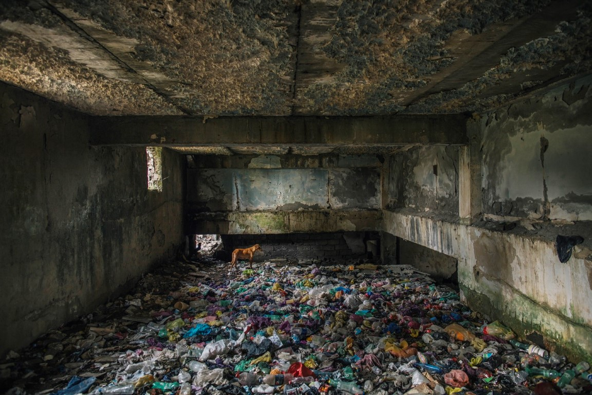 "Project: A Soviet-era Sanatorium ""Sacartvelo"" with a stray dog and rubbish, in the town of Tskaltubo in the former Soviet Republic of Georgia designed by architect KalashnikoPhotographer: Ryan Koopmans"