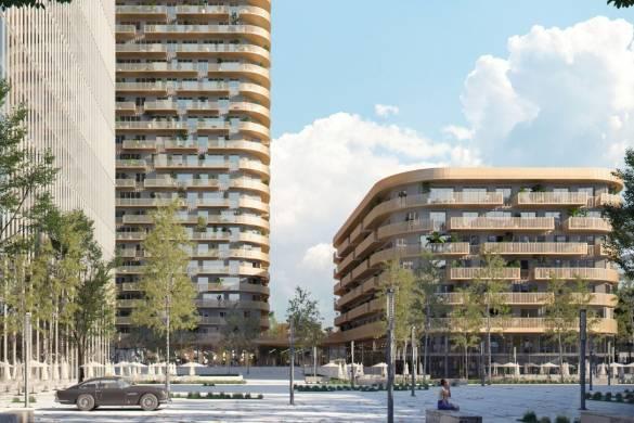 Mecanoo wins Frankfurt Grand Central 140-meter-high tower with Glass and Copper_coloured Metal Façade_1