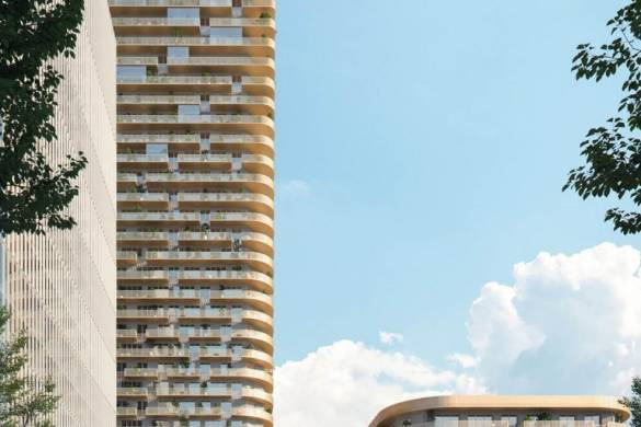 Mecanoo wins Frankfurt Grand Central 140-meter-high tower with Glass and Copper_coloured Metal Façade_4
