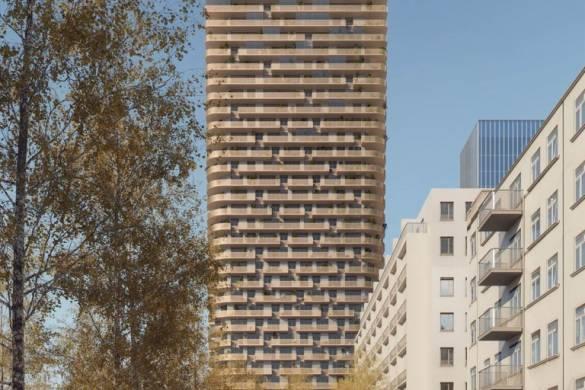 Mecanoo wins Frankfurt Grand Central 140-meter-high tower with Glass and Copper_coloured Metal Façade_5