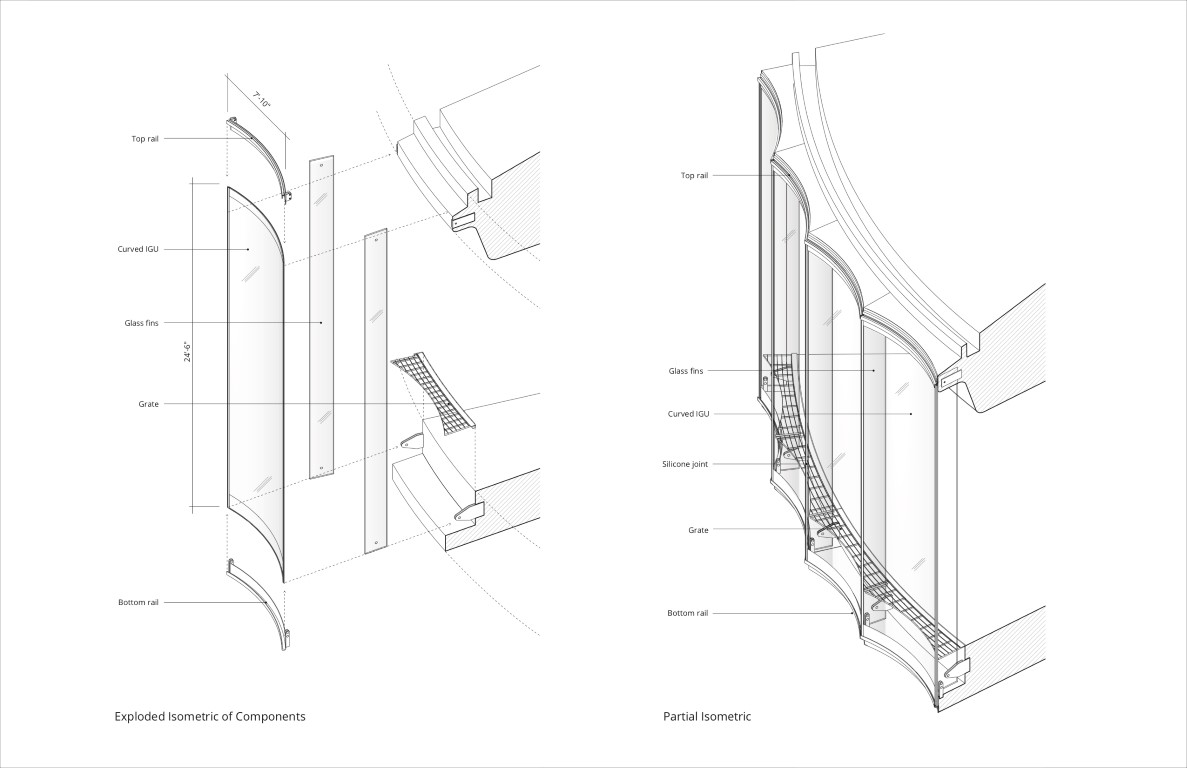The individual glass panels are held in place by a system of top and bottom rails and framed by glass fins within the interior. (Courtesy Machado Silvetti and Fentress Architects)