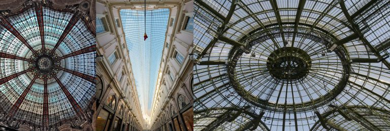 FIG: Galeries Lafayette Paris Architects: 1907 G. Chedanne 1912 F. Chanut – Galerie Saint Hubert Bruxels Architect: JP Cluysenaar 1847 – Grand Palais Paris Architects: H. Deglane, A. Louvet, A. Thomas and C. Girault 1900