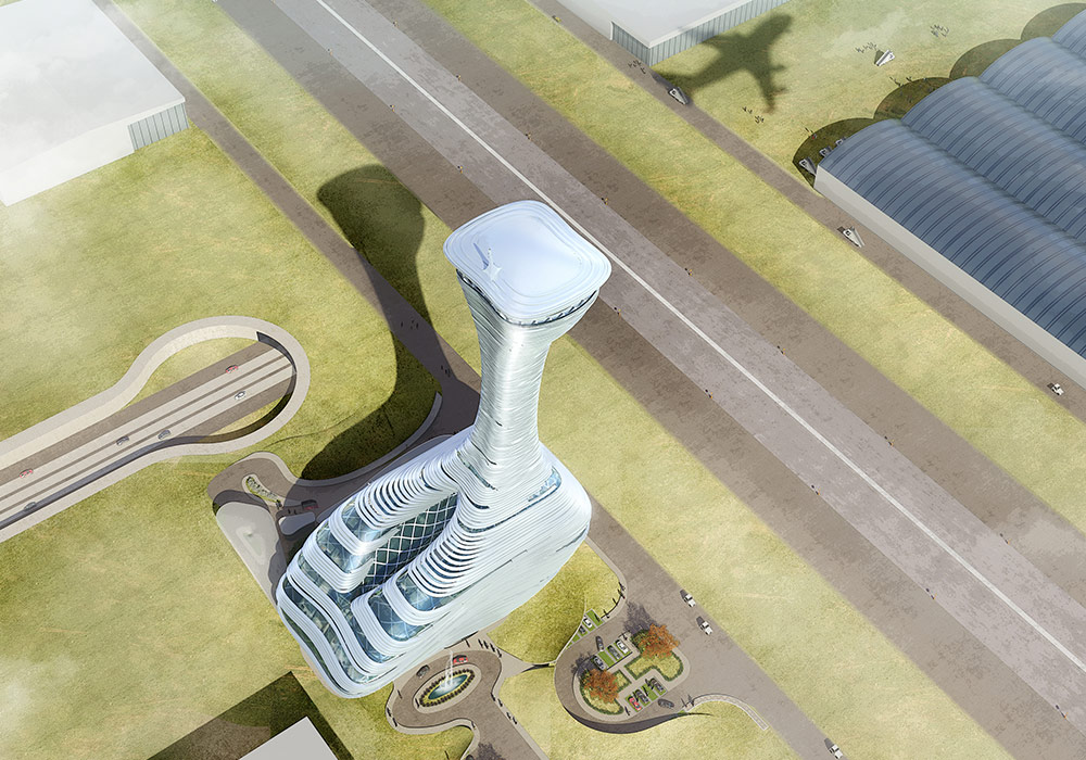 The Air Traffic Control Tower for the New Istanbul Airport. Image courtesy of RMJM