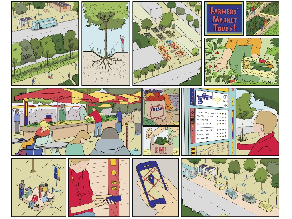"Excerpt from an illustrated brochure for the City of West Hollywood's SMART City Strategic Plan. SOM developed this ""graphic novel"" to help educate local residents, businesses, and visitors about the plan's innovative incorporation of smart technologies, digital tools, and data analytics. Image © SOM"