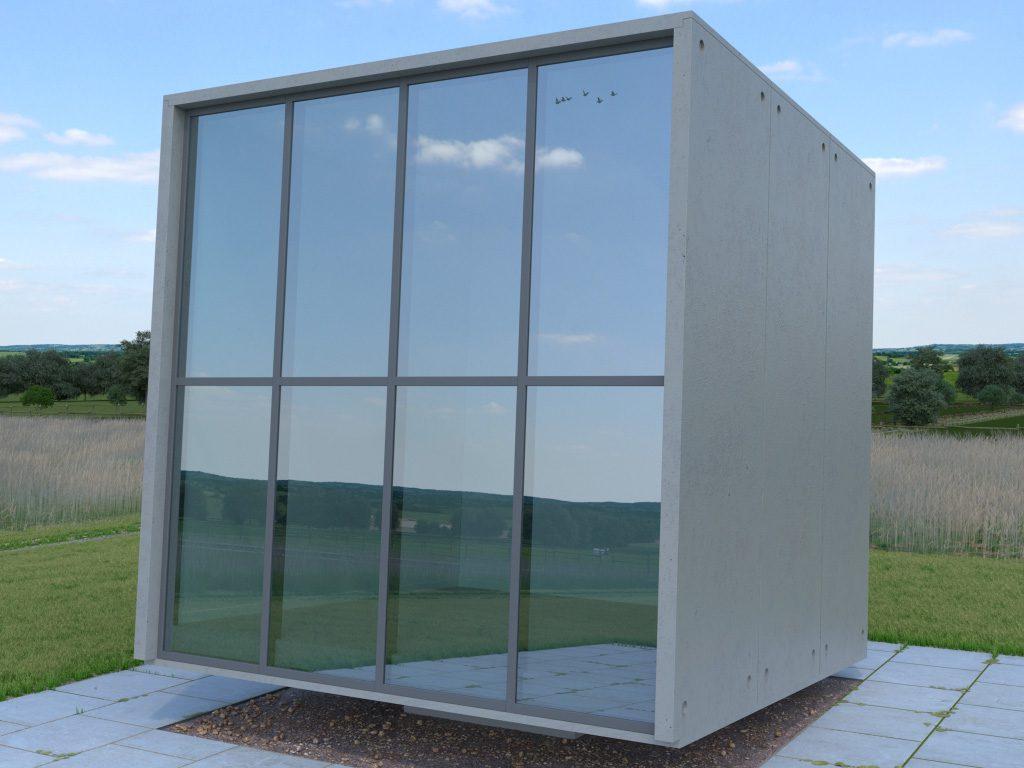 GlasKubus scene of the GlassPro app, under sunny sky