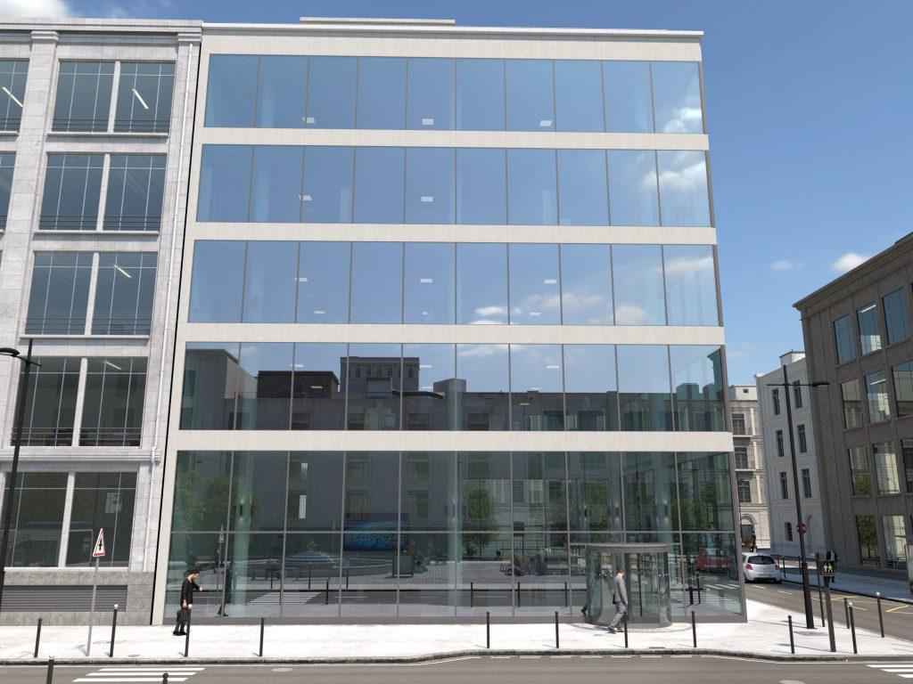 Urban Scene (standard building) of the GlassPro app, under sunny sky