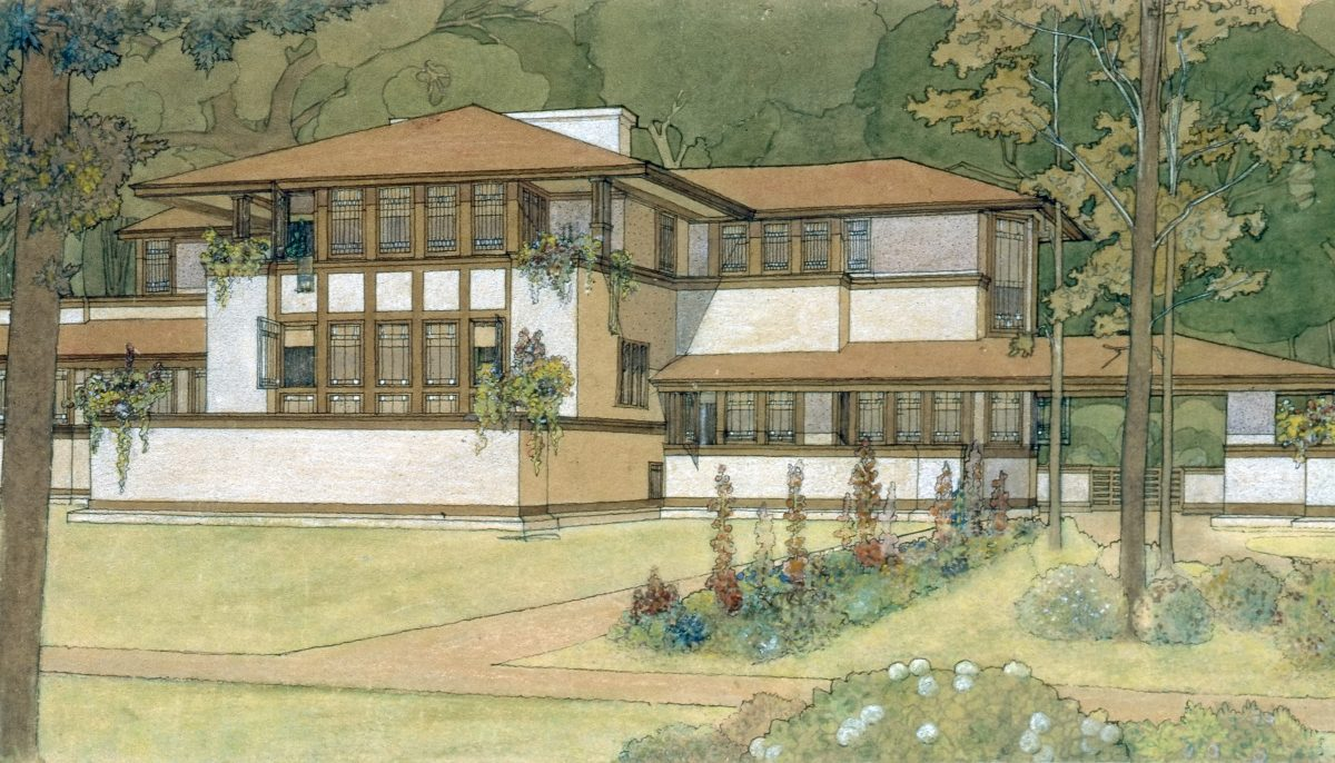 Marion Mahony Griffin's famous watercolor renderings are often miscredited to Frank Lloyd Wright (Mahony Griffin, Marion. Ward W Willits House. 1902, Frank Lloyd Wright Foundation).