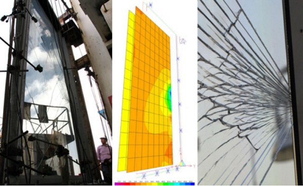 Fig. 09: Shining Towers: Cold-bending test mock-up, ultimate test and glass breakage at 290mm (mock-up 1) and 300mm cold-bending (mock-up 2)