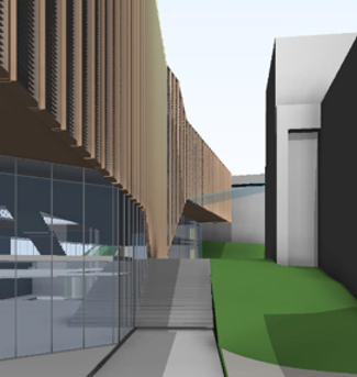 Figure 9: 3D render of curtain wall with interstitial timber louvre option
