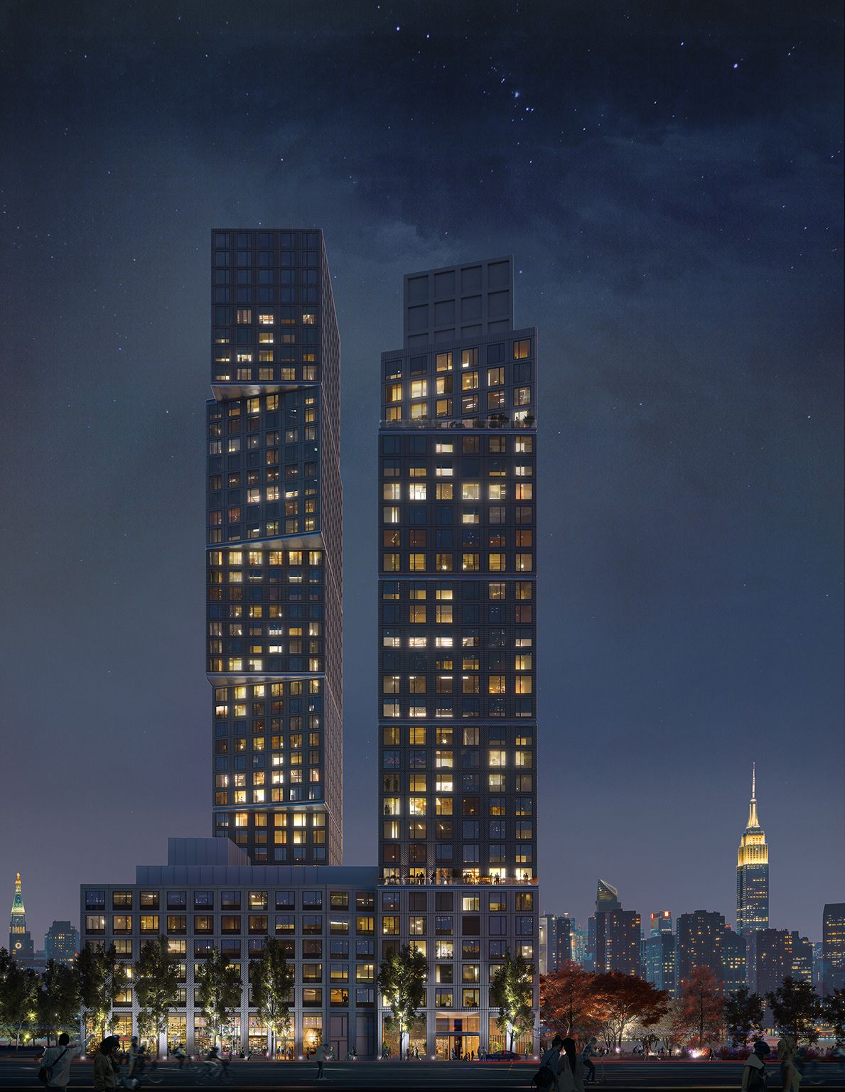 Two Towers at Greenpoint Landing by OMA / Jason Long Breaks Ground