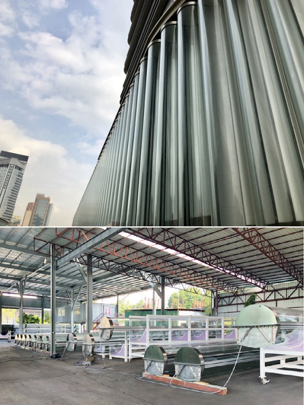 Figure 1   Closed cavity façade technology used for 9 m high glass tubes: Mock-up for performance tests and assembly line in Hong Kong © seele