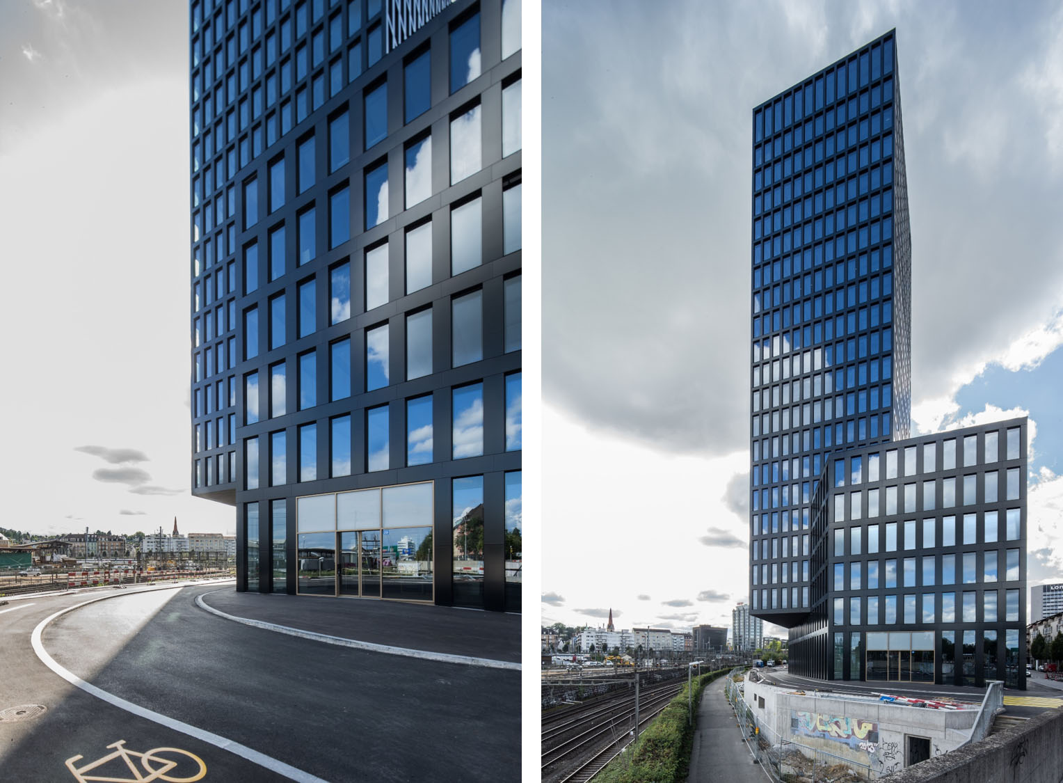 Figure 5: Grosspeter Tower in Basel. Showing a seemingless integration of PV modules into the facade of a high-rise building. Solar façade planning by energiebüro ag. ©Adriano Biondo