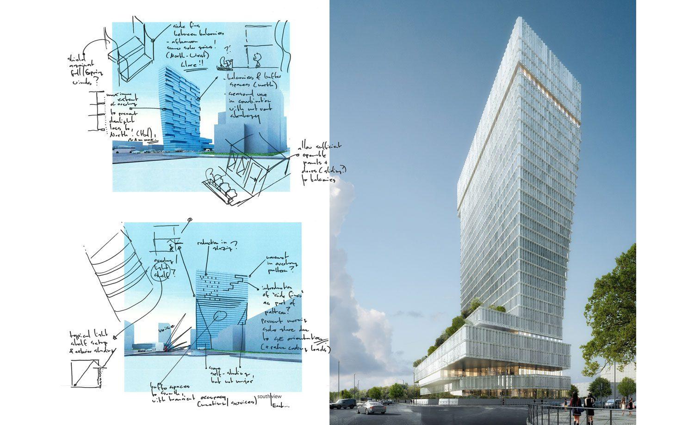 Fig. 02 – Design Performance Sketch Heuristics – New Development Bank Project (sketches: Buro Happold; Architecture: Mecanoo)