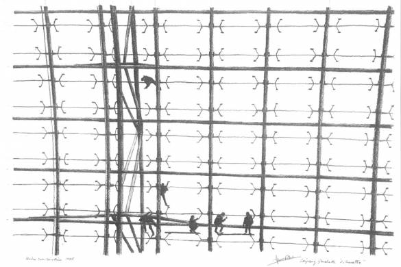 Under construction drawing by Ian Ritchie