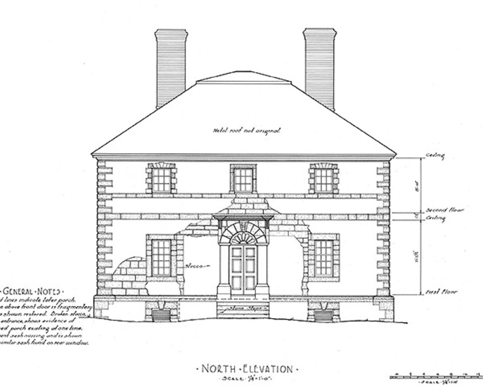 Drawing of Menokin from Historic American Buildings Survey (HABS). Image Courtesy of Menokin Foundation