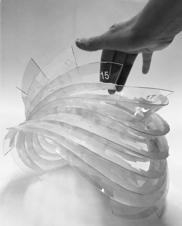 [13] Sculpture prototype (taped laser cut plastic)