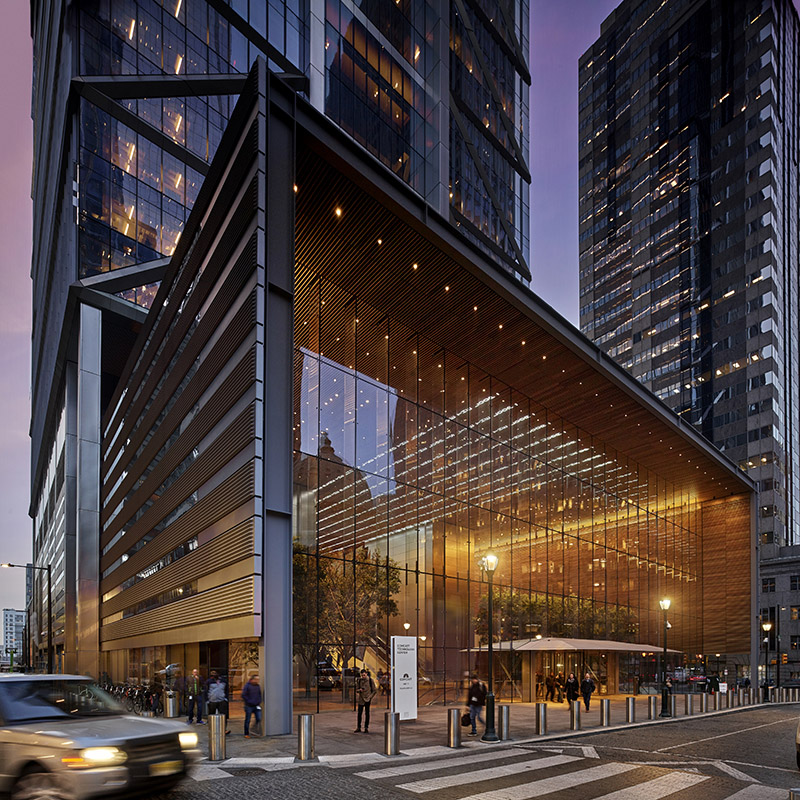 Comcast Innovation and Technology Center (1800 Arch Street) At street level by night, the ground-level façade of 1800 Arch Street,  located in Philadelphia, PA, casts an intricate and warm glow of the building interior to the world outside