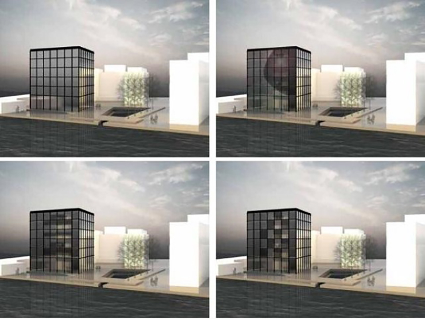Figure 10. Application possibilities of the structured adaptive glazing in a fully glazed facade. Renderings: S. Leistner, ILEK